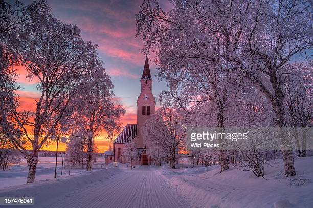 kirche in arjeplog - swedish lapland stock-fotos und bilder