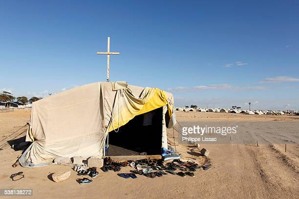 church in choucha refugee camp - refugee camp stock pictures, royalty-free photos & images