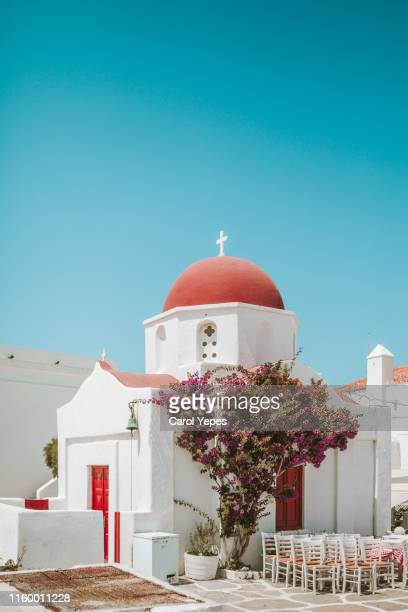 church in mykonos, greece - greek orthodoxy stock pictures, royalty-free photos & images