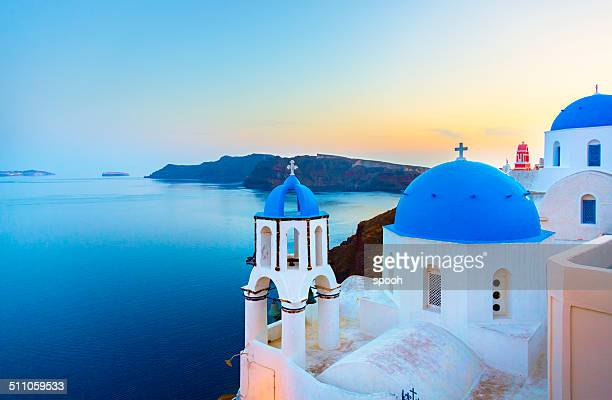 church in oia on santorini island, greece - international landmark stock pictures, royalty-free photos & images