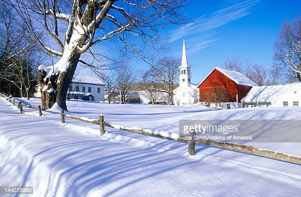 Church in Peacham VT in snow in winter