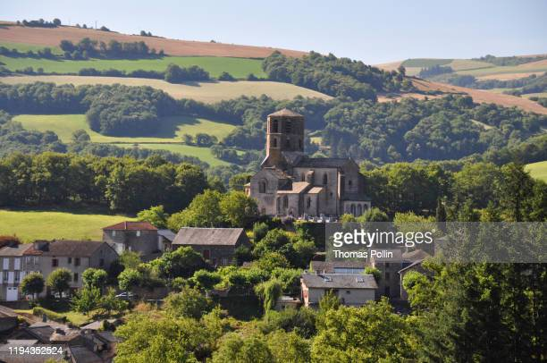 church in plaisance village - aveyron stock pictures, royalty-free photos & images