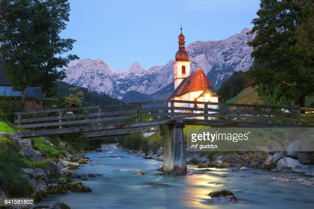 church in ramsau, berchtesgaden, germany - upper bavaria stock photos and pictures