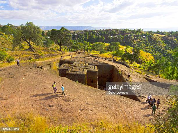 church in rock - lalibela stock photos and pictures