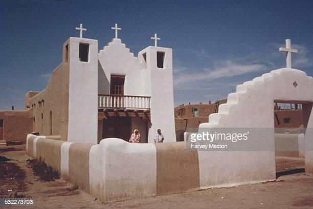 Church in Taos Pueblo, New Mexico, USA, circa 1960.