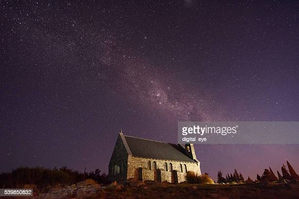 church in Tekapo and milky way
