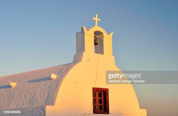 church in the last evening light on the cyclades, greece - last stock pictures, royalty-free photos & images