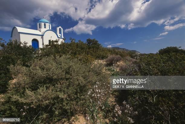 Church in the Maquis shrubland surrounding Lakki, Karpathos Island, Greece.