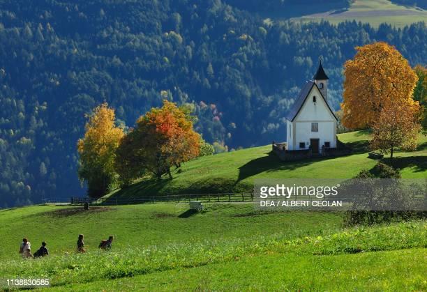 Church in the meadows at Pradel, Klausen, Chestnut trail, Eisack valley, Trentino-Alto Adige, Italy.