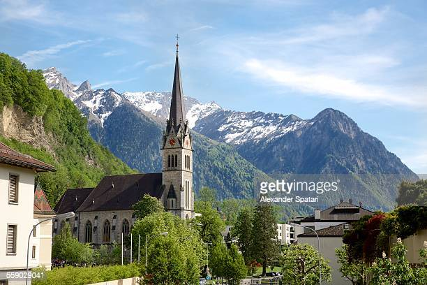 church in vaduz, liechtenstein - vaduz stock pictures, royalty-free photos & images