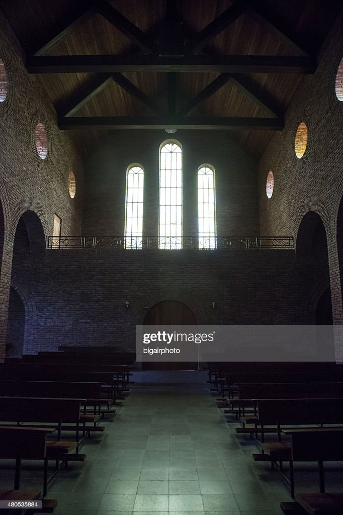 Church interior. Windows. : Stock Photo