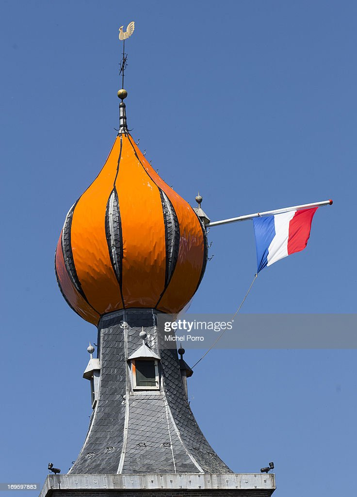 . A church is decorated with an orange crown during a one day visit by King Willem-Alexander and Queen Maxima of The Netherlands to Groningen and Drenthe provinces at downtown Dwingelo on May 28, 2013 in Dwingelo, Netherlands.