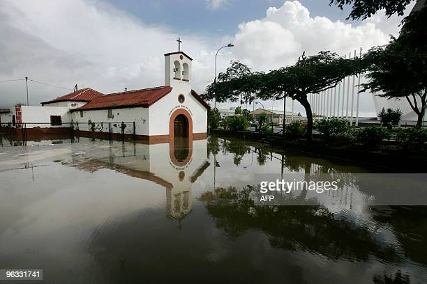 A church is flooded after heavy rainfall during Storm Altlantica in Santa Cruz de Tenerife on the Spanish Canary island of Tenerife on February 1...