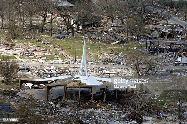A church is shown gutted on US Highway 90 September 9 2005 in Pass Christian Mississippi Damage from Hurricane Katrina is expected to top $125...