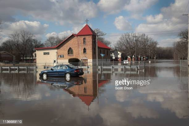 A church is surrounded by floodwater from the Pecatonica River on March 18 2019 in Freeport Illinois Several Midwest states are battling some of the...