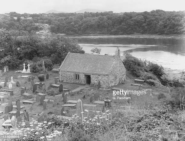Church Island near Menai Bridge North Wales September 1968 The Church was built in 630 AD by St Tysilio It contains only 14 pews and is still lit by...