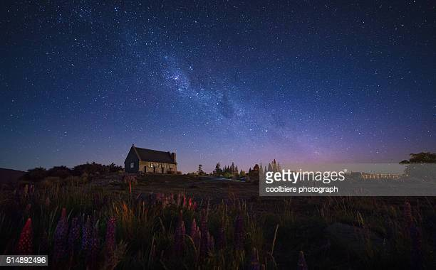 Church of a good shepherd with milkyway above