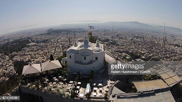 Church Of Agios Georgios On Mount Lycabettus By Residential District Against Sky