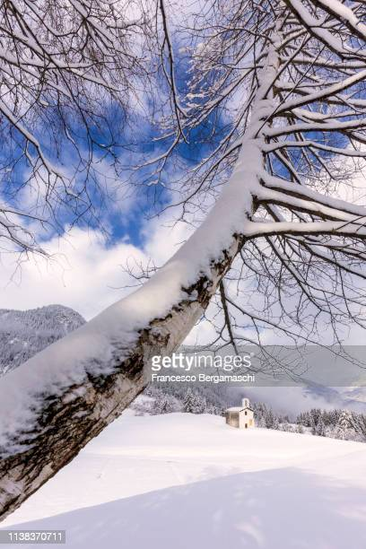 Church of Alp Selva after a snowfall. Alp Selva, Poschiavo Valley(Val Poschiavo), Graubünden, Switzerland, Europe.