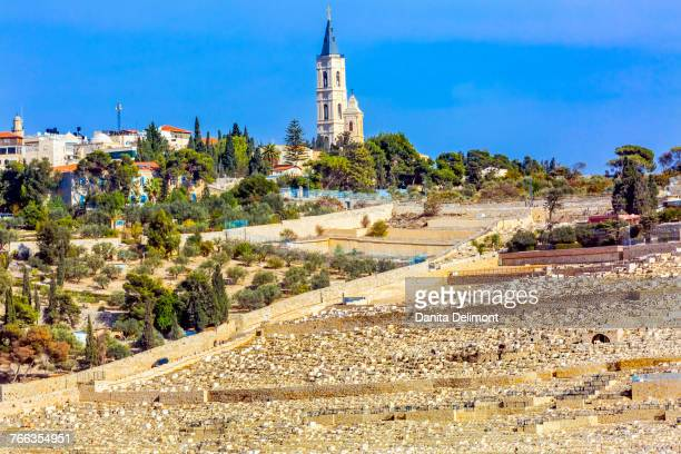 church of ascension and jewish cemeteries, mount of olives, garden of gethsemane, jerusalem, israel - mount of olives stock photos and pictures