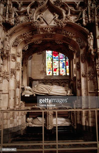 church of brou in bourg-en-bresse: tomb of marguerite d' autriche - margaret_of_austria,_electress_of_saxony stock pictures, royalty-free photos & images