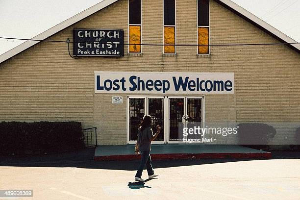 """Church of Christ in South Dallas with a sign that reads """"Lost Sheep Welcome"""""""