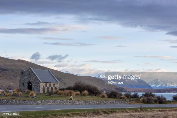 Church of Good Shepherd with Southern Alps in background, Lake Tekapo, Mackenzie Country, South Island, New Zealand