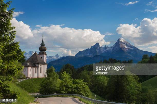 church of maria gern with watzman mountain - chapel stock pictures, royalty-free photos & images