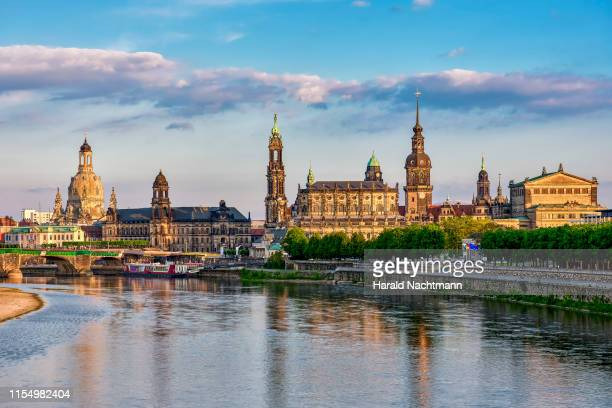 church of our lady, haussman tower, catholic court church, semperoper and elbe river, dresden, saxony, germany - dresda foto e immagini stock