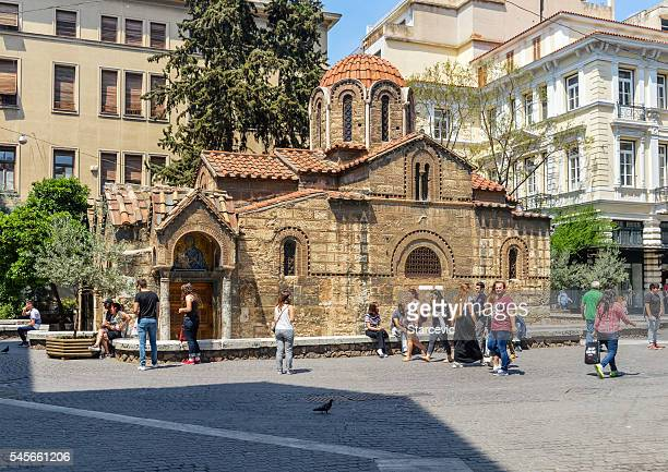 church of panaghia kapnikarea - athens, greece - byzantine stock photos and pictures