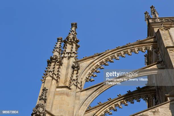 church of saint barbara, kutna hora - flying buttress stock photos and pictures