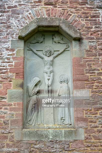 Church of Saint Edward, Kempley, Gloucestershire, England, UK, architect Randall Wells built 1903-4 relief Crucifixion.