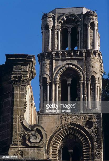 Church of Saint Maria dell'Ammiraglio, also known as 'la Martorana' 12th Century. Italy, Sicily, Palermo. Detail. The church tower.