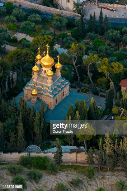 church of saint mary magdalene, mount of olives, jerusalem - jerusalem stock-fotos und bilder
