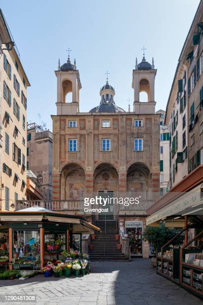 church of saint peter in banchi in genoa - gwengoat stock pictures, royalty-free photos & images
