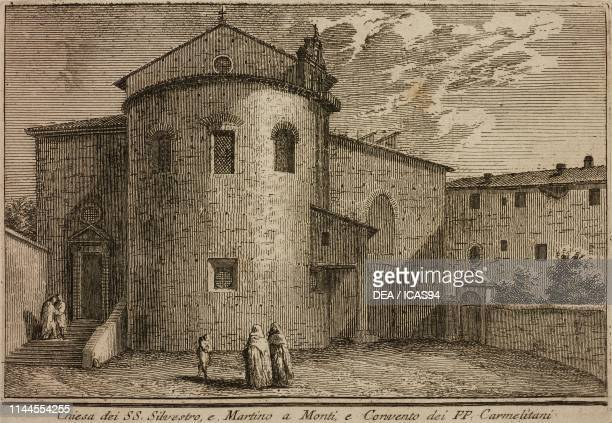 Church of Saints Silvestro and Martino ai Monti and the Convent of the Carmelite Friars, Rome, Italy, etching by Giuseppe Vasi, from Delle...