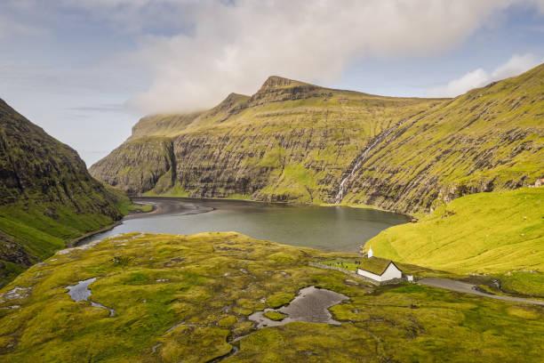 Church of Saksun Streymoy Island Faroe Islands Aerial View