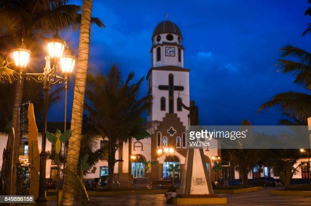 Church of Salento Central square at dusk Quindio Colombia