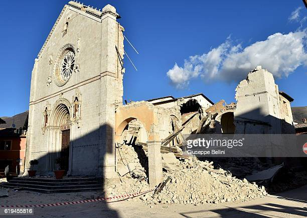 Church of San Benedetto da Norcia following a massive earthquake yesterday morning on October 31, 2016 in the town of Norcia in Perugia, Italy. A 6.6...