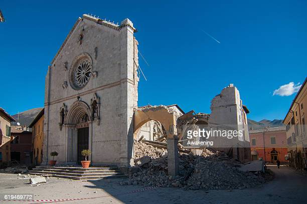 Church of San Benedetto da Norcia was destroyed by the earthquake in Norcia on October 31, 2016 in Perugia, Italy. A 6.6 magnitude earthquake struck...