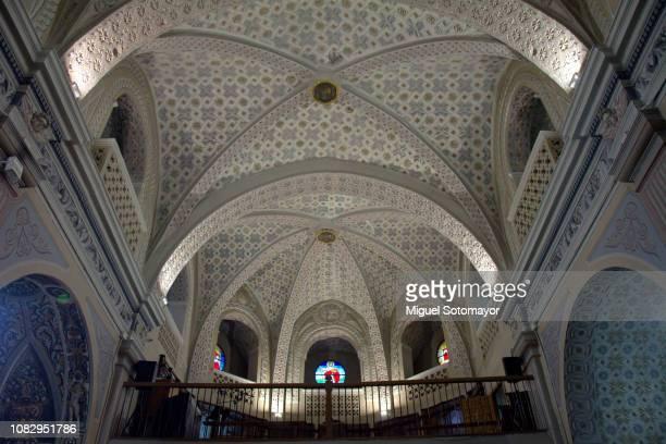 church of san juan bautista de illueca in mudejar style - arco característica arquitectónica fotografías e imágenes de stock