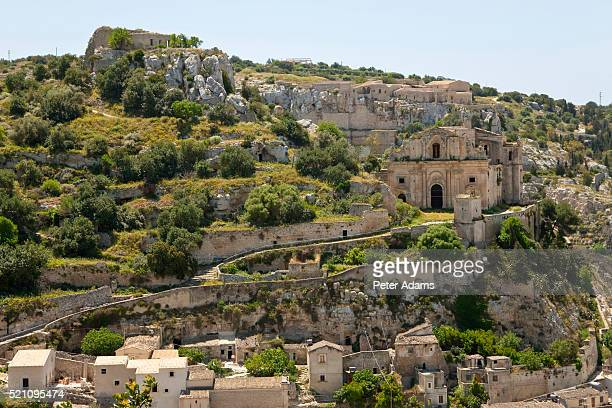 church of san matteo overlooking scicli in sicily - peter adams stock pictures, royalty-free photos & images
