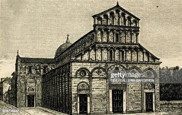 Church of San Paolo a Ripa d'Arno known as Duomo vecchio Pisa Tuscany Italy woodcut from Le cento citta d'Italia illustrated monthly Supplement of Il...