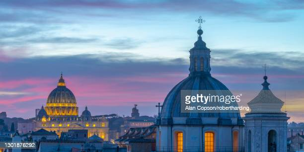 church of san salvatore in lauro and st. peter's basilica beyond, ponte, rome, lazio, italy, europe - alan copson stock pictures, royalty-free photos & images