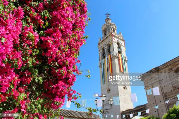 church of santa cruz in écija, the city of churches and towers, andalusia, spain - エシハ ストックフォトと画像