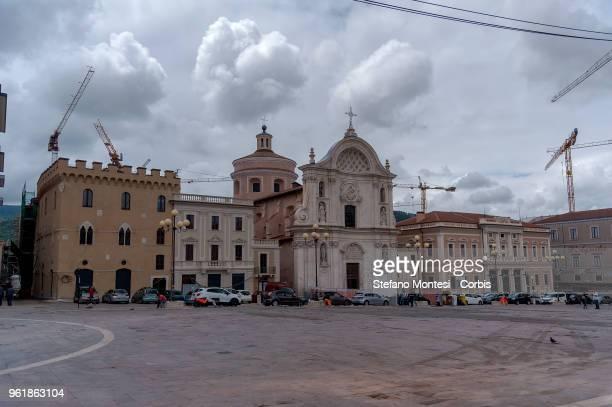 L' AQUILA ITALY MAY 23 Church of Santa Maria del Suffraggio in Duomo Square of the historic centre of L' Aquila on May 23 2018 in L'Aquila Italy L...