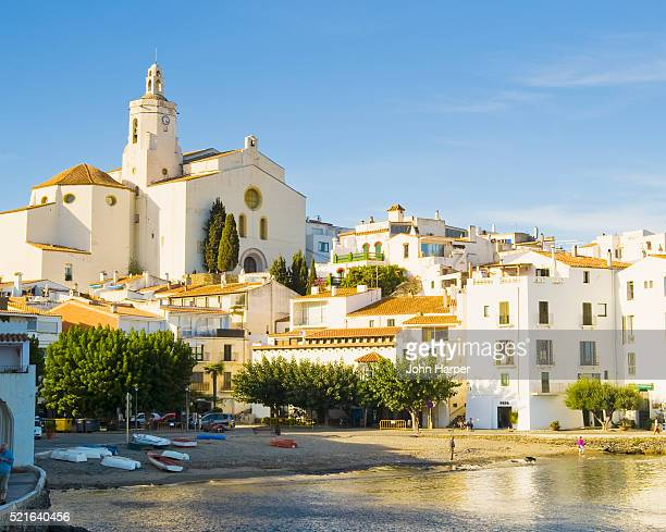 church of santa maria in cadaques - cadaques stock pictures, royalty-free photos & images
