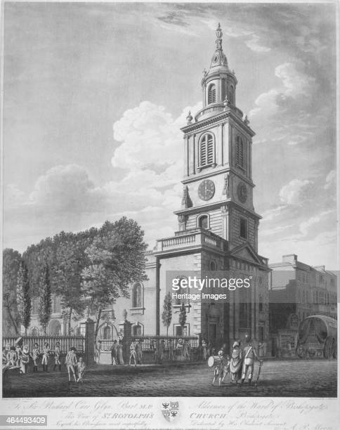 Church of St Botolph without Bishopsgate, City of London, 1802. View showing soldiers, other figures and a cart, including a dedication to Richard...