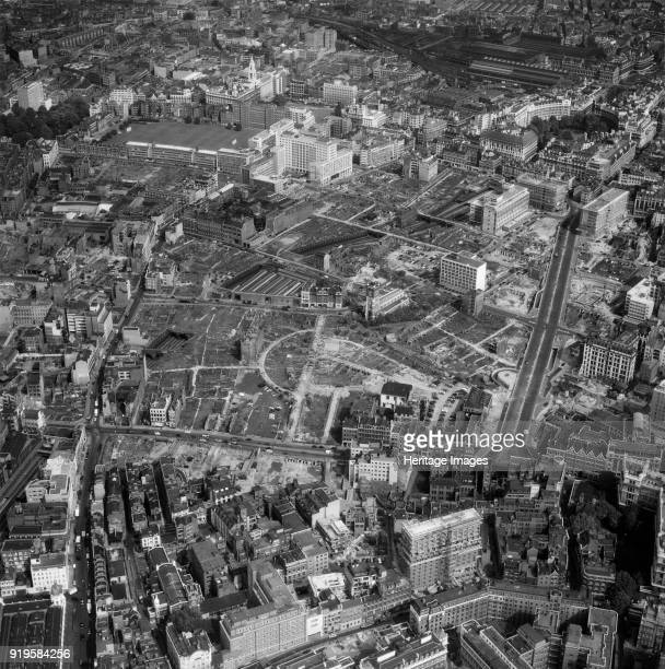 Church of St Giles without Cripplegate, London, 1959. The church stands in splendid isolation, surrounded by empty plots. Some new buildings have...