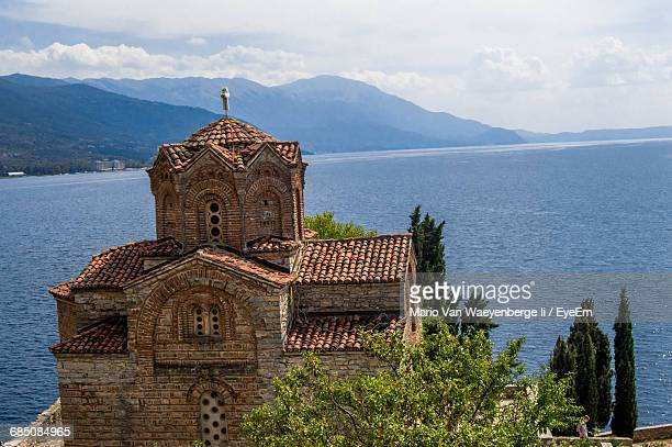 church of st john at kaneo against lake ohrid - lake ohrid stock photos and pictures